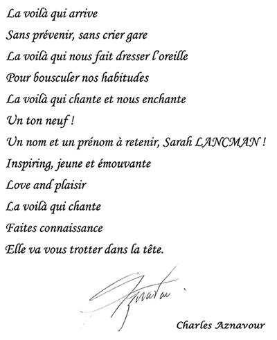 Texte Aznavour Sarah Lancman-site